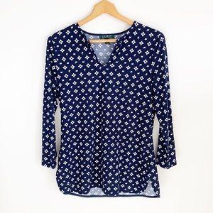 Ralph Lauren Navy blue/white printed tunic top
